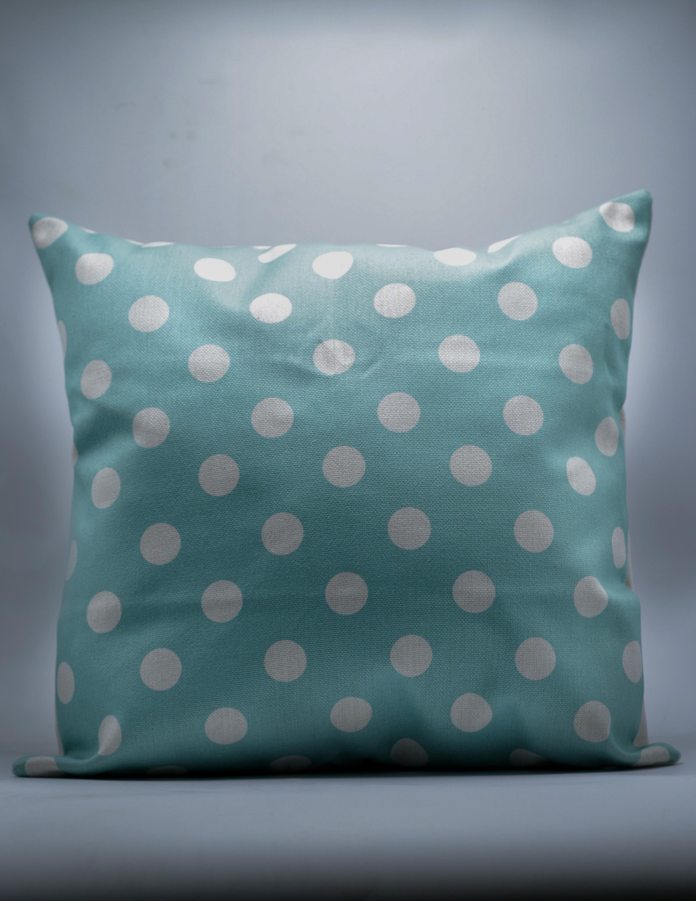 Teal Polka Dot Decorative Throw Pillow