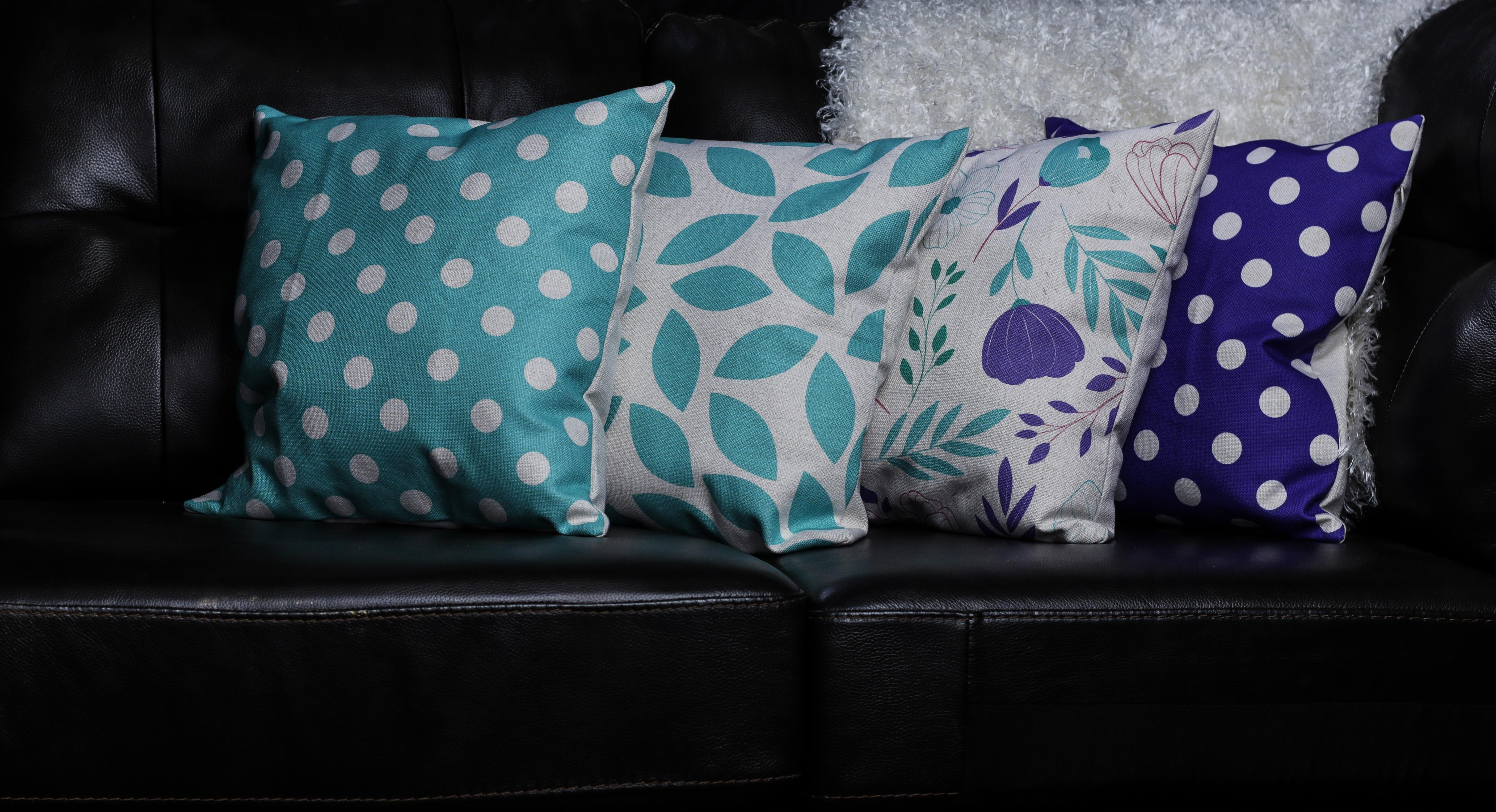 Purple Polka Dot Decorative Throw Pillow