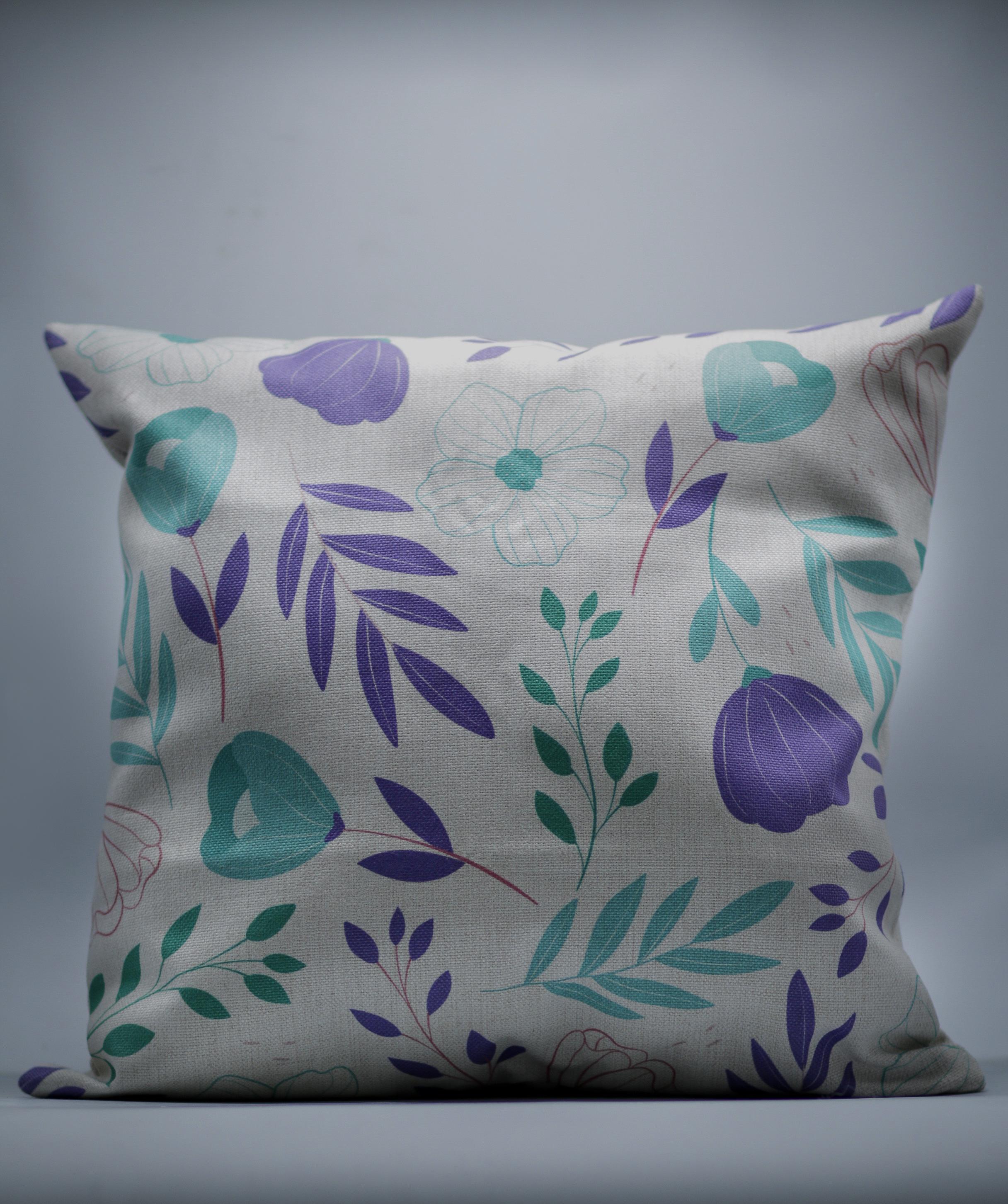 Teal Floral Decorative Throw Pillow